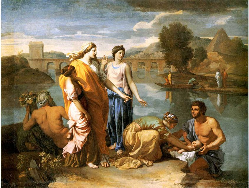 Pharaohs  Daughter  Finds  Baby  Moses poussin 845x640 - رامبراند ، هنرمند نقاش