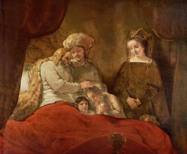 Rembrandt Jacob Blessing - رامبراند ، هنرمند نقاش