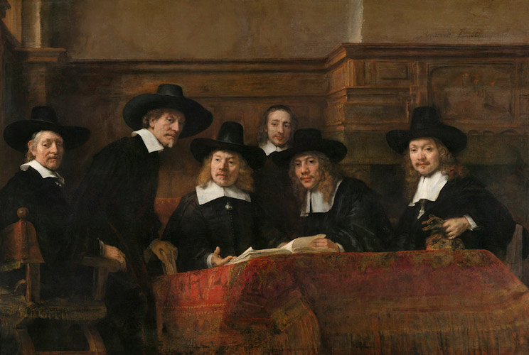 Rembrandt Syndics  of  the  Cloth  Merchants - رامبراند ، هنرمند نقاش
