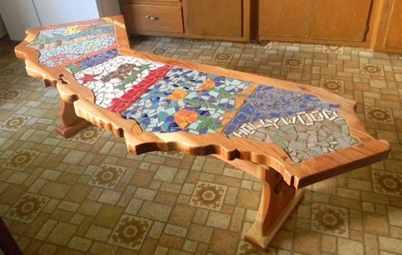 wood mosaic - کاشی شکسته روی چوب