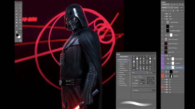 step16 photoshop - مدل سازی darth vader ( شخصیت فیلم جنگ ستارگان ) در زیبراش