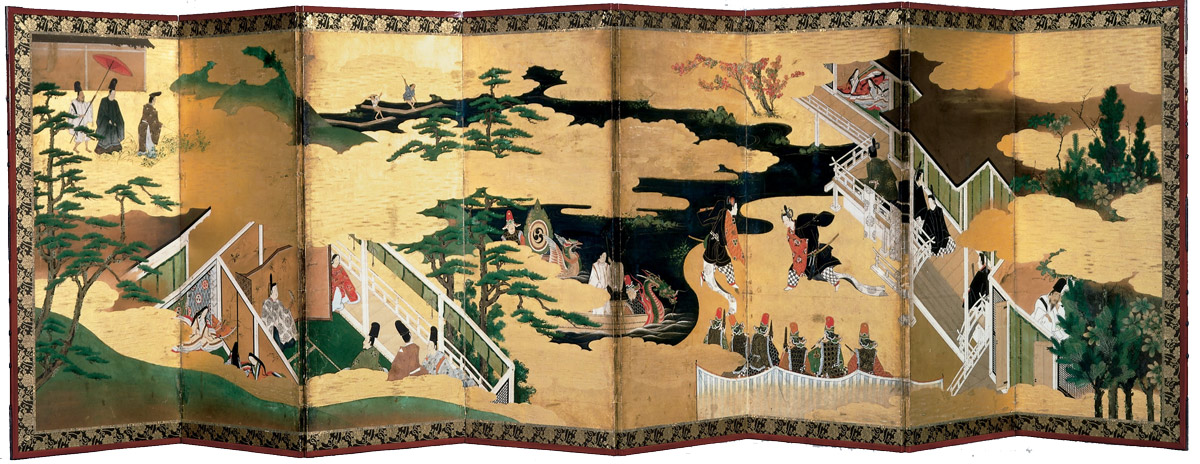 Pair of Eightfold Screens  Scenes Tale of Genji  - هنر و تمدن شرق ( ژاپن )
