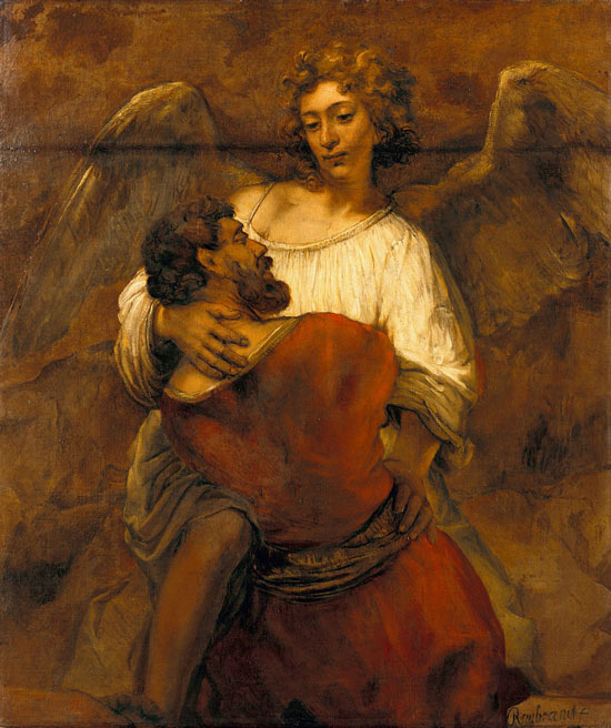 Rembrandt Jacob Wrestling with the Angel - رامبراند ، هنرمند نقاش