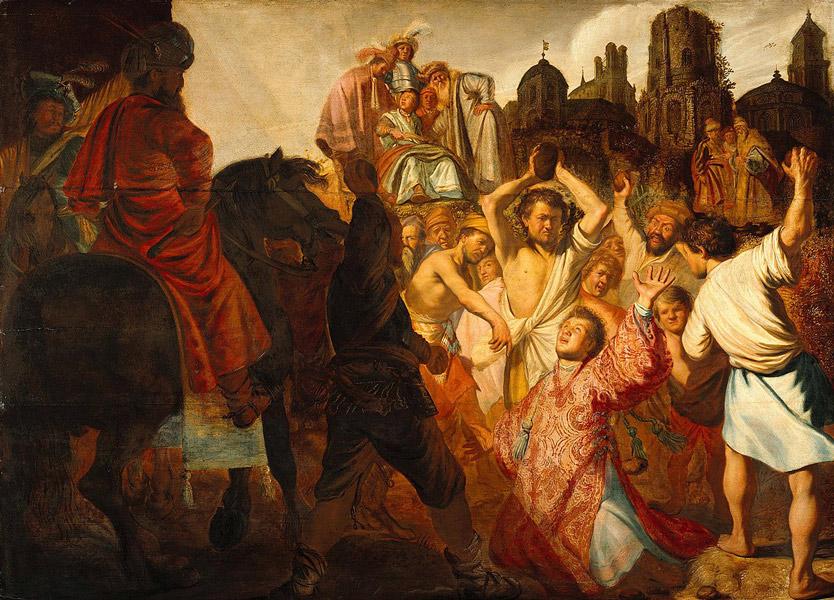 Stoning  Stephen  Saints  of  ramrandt - رامبراند ، هنرمند نقاش