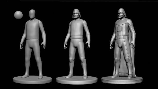 step3 sculpt - مدل سازی darth vader ( شخصیت فیلم جنگ ستارگان ) در زیبراش