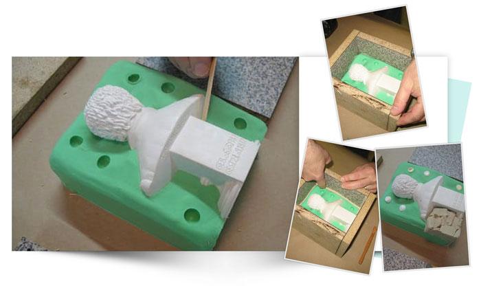 Two Piece Silicone Mold of Small Bust 5 - آموزش قالب گیری دو تکه از مجسمه نیم تنه کوچک