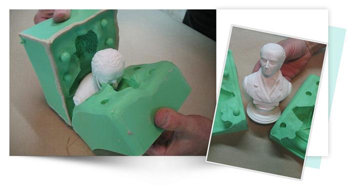 Two Piece Silicone Mold of Small Bust 6 - آموزش قالب گیری دو تکه از مجسمه نیم تنه کوچک